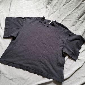 Free People   NWOT Mock Neck Black Crop T-Shirt S